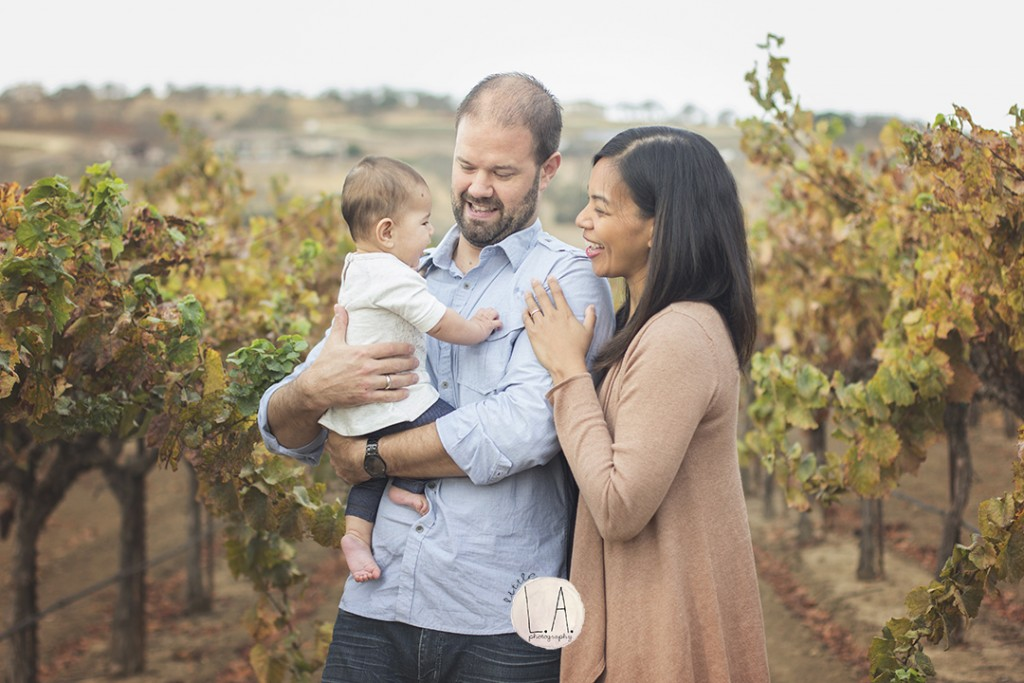 family pictures in vineyards